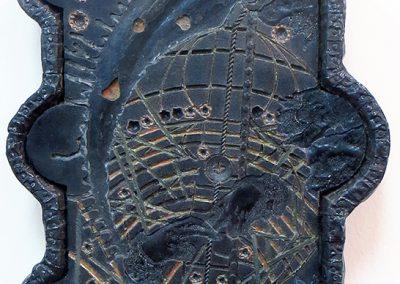 """Robert Eustace """"Lament of the Black Sun"""" Ikonic mixed media construction"""