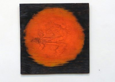 "Brian McCormack ""Red Giant"" torched scrap wood, paint"