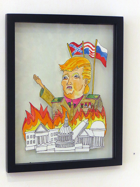 "David LaMorte ""Watch the World Burn"" watercolor on cut paper, $100.00"