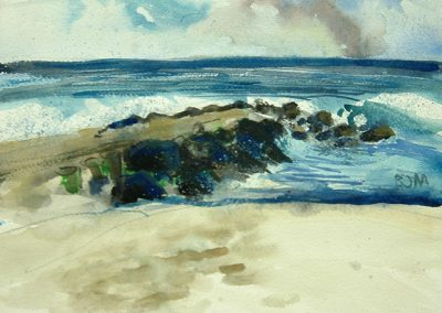 "Brian McCormack ""Asbury Jetty"" watercolor"