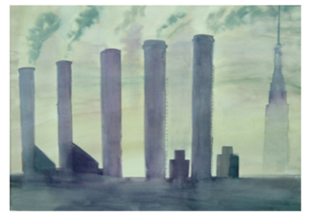 "Brian McCormack ""View from the Pulaski Skyway"" watercolor"