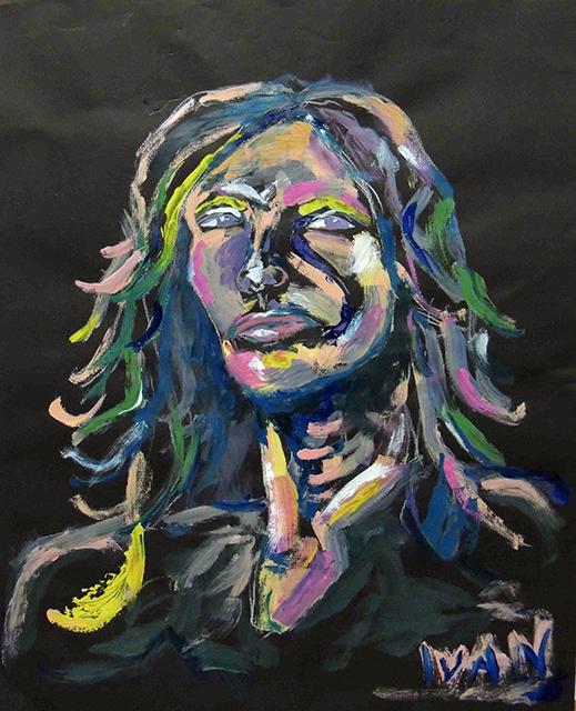 """Ivan Constante  """"Steven Tyler""""  acrylic on paper"""