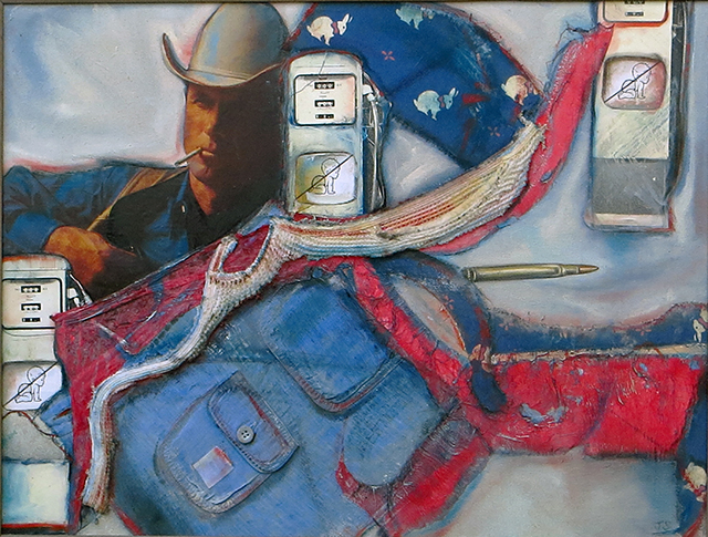 Marlboro Man with Baby Pumps – collage on canvas with paper, fabric, oil paint, paper clip – 24″ W x 20″ H