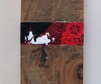 """Jessica Demcsak  """"Burning"""" acrylic on wood, $700.00"""
