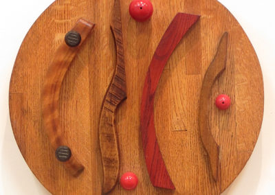 "Fred Cole  ""Co-existing"" recycled wood and beads, $135.00"