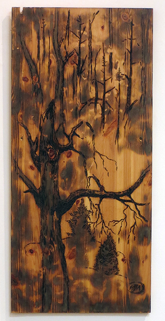 "Brian McCormack ""After The Fire's Wake"" propane torch, pyro burning tool on found wood $150.00"