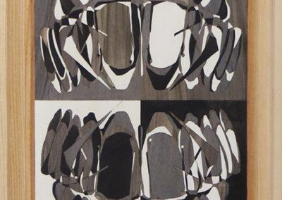"""Matt R. Phillips  """"Symmetrical Grin"""" wood veneer marquetry, NFS"""