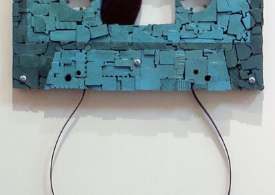 "Amy Puccio ""Art of the Mixed Tape"" wood mosaic wall relief, $650.00"