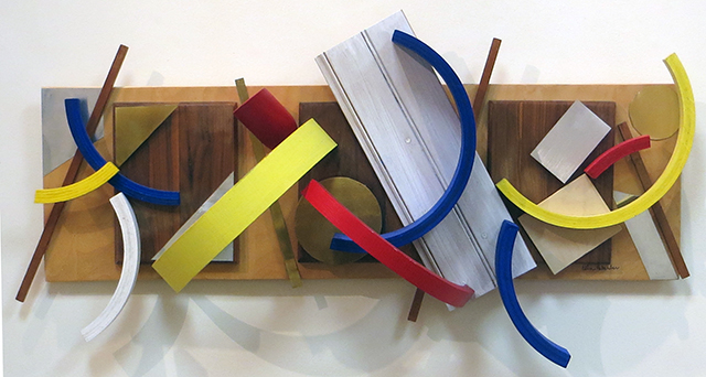 "Ellen Rebarber ""Fascinating Rhythm"" wood, aluminum, paint and brass, $600.00"