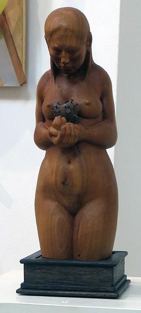 "Anthony Santella ""Hurt"" cherry wood carving, $3,500.00"