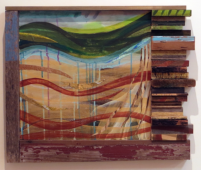 "Maryanne Trent ""Ground Water"" acrylic, fabric, paper and wood, $780.00"