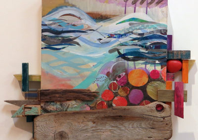 """Maryanne Trent """"White Water"""" acrylic, fabric, paper and wood, $850.00"""