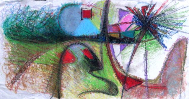 Untitled – cray-paz on raw canvas