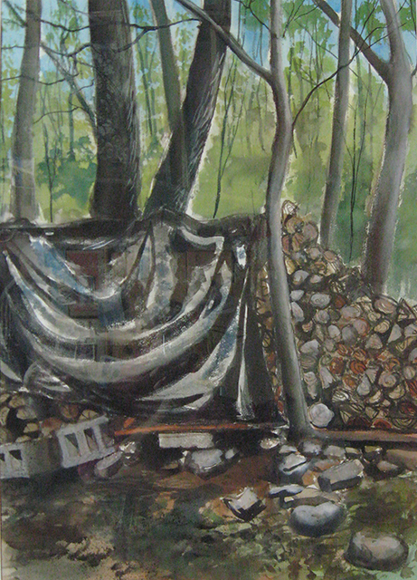 """Watercolor on paper entitled: """"Firewood"""""""