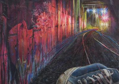 """Tracks 1"" – inkjet print, scarf, charcoal, acrylic paint, metallic thread, colored pencil on canvas"