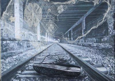 """Tracks 2"" – Inkjet print, metallic thread, gauze, lace, acrylics, colored pencil on canvas"