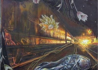 """Tracks 3"" – Inkjet print, scarf, acrylic, metallic thread, colored pencil on canvas"
