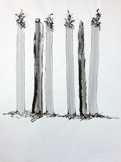 "John Marron ""Six Smokers"" ink on paper,  $111.00"