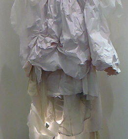 """Caitlin T. McCormack – """"Ascent of the carnivorous milky bar"""" hand sewn dress, latex paint, light source – This work appears courtesy of Paradigm Gallery + Studio, Philadelphia, PA"""