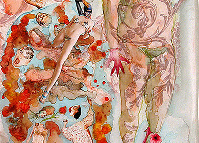 "Jane Dell  – ""Fat Girl's Dream"" watercolor, ink/collage  on mylar"