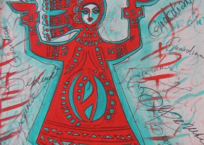 "Tatiana L. Sougakova – ""Guardian"" acrylic and permanent pen on canvas"