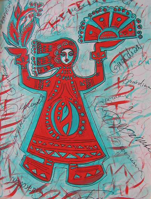 "Tatiana L. Sougakova – ""Guardian"" acrylic and permanent pen on canvas"