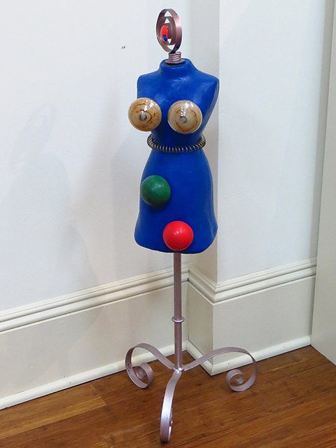 "Fred Cole – ""See Through Bra"" sculpture, mannequin, toys, springs, glass shapes"