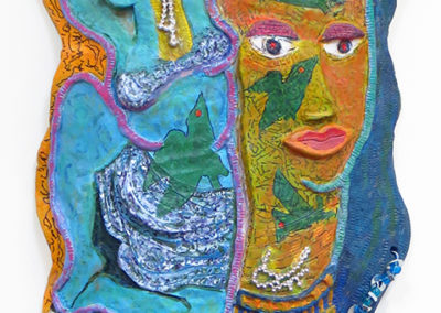 """KarenWeintraub – """"Artist and Her Muse"""" Wall hanging – high fired, glazed white clay ceramic, acrylic, telephone wire, keys and beads"""