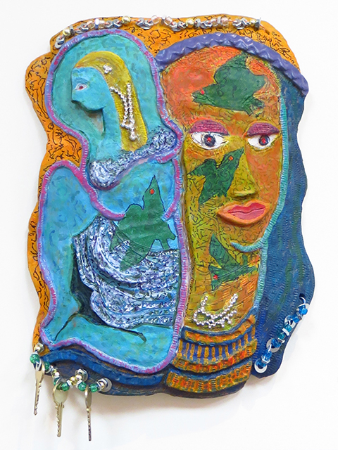 "KarenWeintraub – ""Artist and Her Muse"" Wall hanging – high fired, glazed white clay ceramic, acrylic, telephone wire, keys and beads"