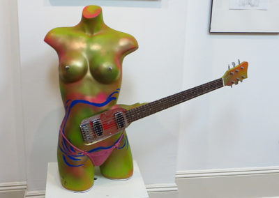 "Brian McCormack  – ""Rock and Roll Hootchie Coo"" found object, fiberglass, electric guitar parts, paint, thong"