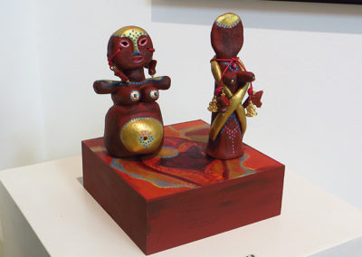 "Kristina Lloyd  – ""Two Goddess Statuettes"" hand painted ceramics, beads"