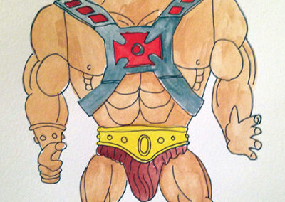 "David LaMorte -""Plastic Adonis #1"" watercolor  -""Plastic Adonis #2"" watercolor"