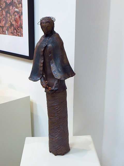 "Naomi Nierenberg  – ""Lady Awaiting"" ceramic stoneware with copper trim"