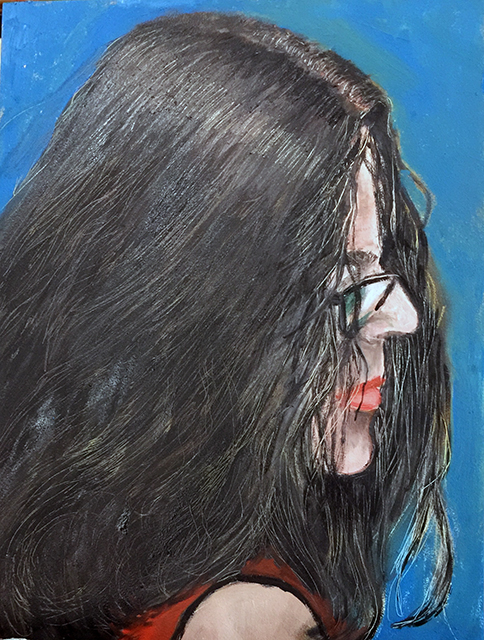 "Michele Guttenberg  – ""Get the Hair Out Of Your Eyes"" oil on gesso board"