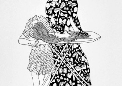 "Katie Hovencamp  – ""Straight"" pen and ink on paper"