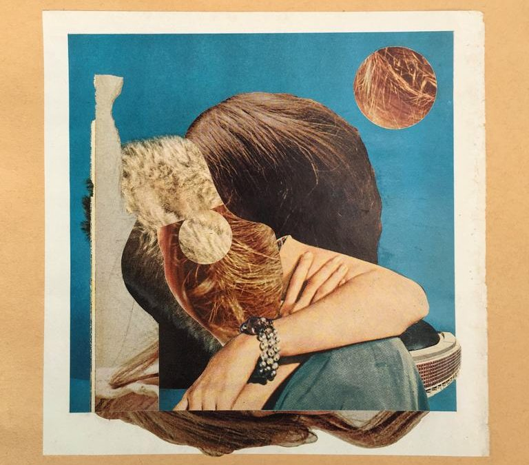 """Curt Harbits – """"Wee Dot"""" hand cut printed paper collage mounted on Fabriano paper"""