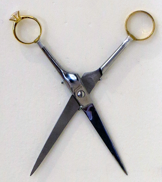 "Joseph Ursulo  – ""Adultery""  sculpture with scissors and rings"