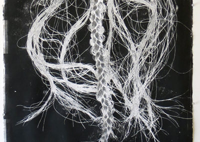 "Amber Gaul  – ""Braid on Black"" monoprint"