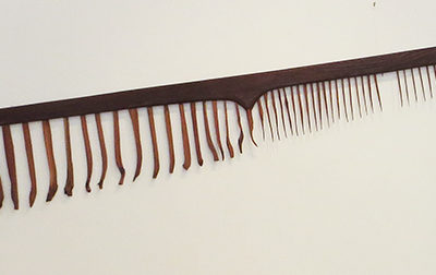 "E. Carol O'Neill –  ""Men's Fine Toothed Comb in Red Cedar and Redwood"" carved wooden sculpture"