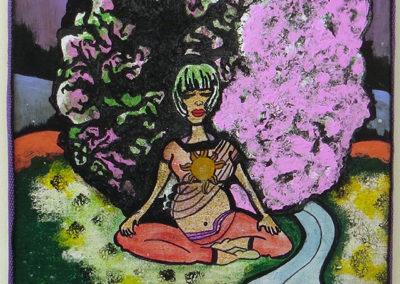 """Cecilia Martinez  – """"Mother Earth"""" acrylic, watercolor, marker, crayon on canvas"""