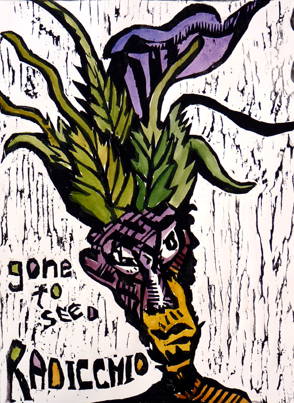 "Richard Metz  – ""Radicchio"" woodcut and watercolor"