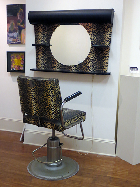 "Vicky Blasucci   – ""Vintage 1960's leopard print salon chair and mirror ensemble"" found object"