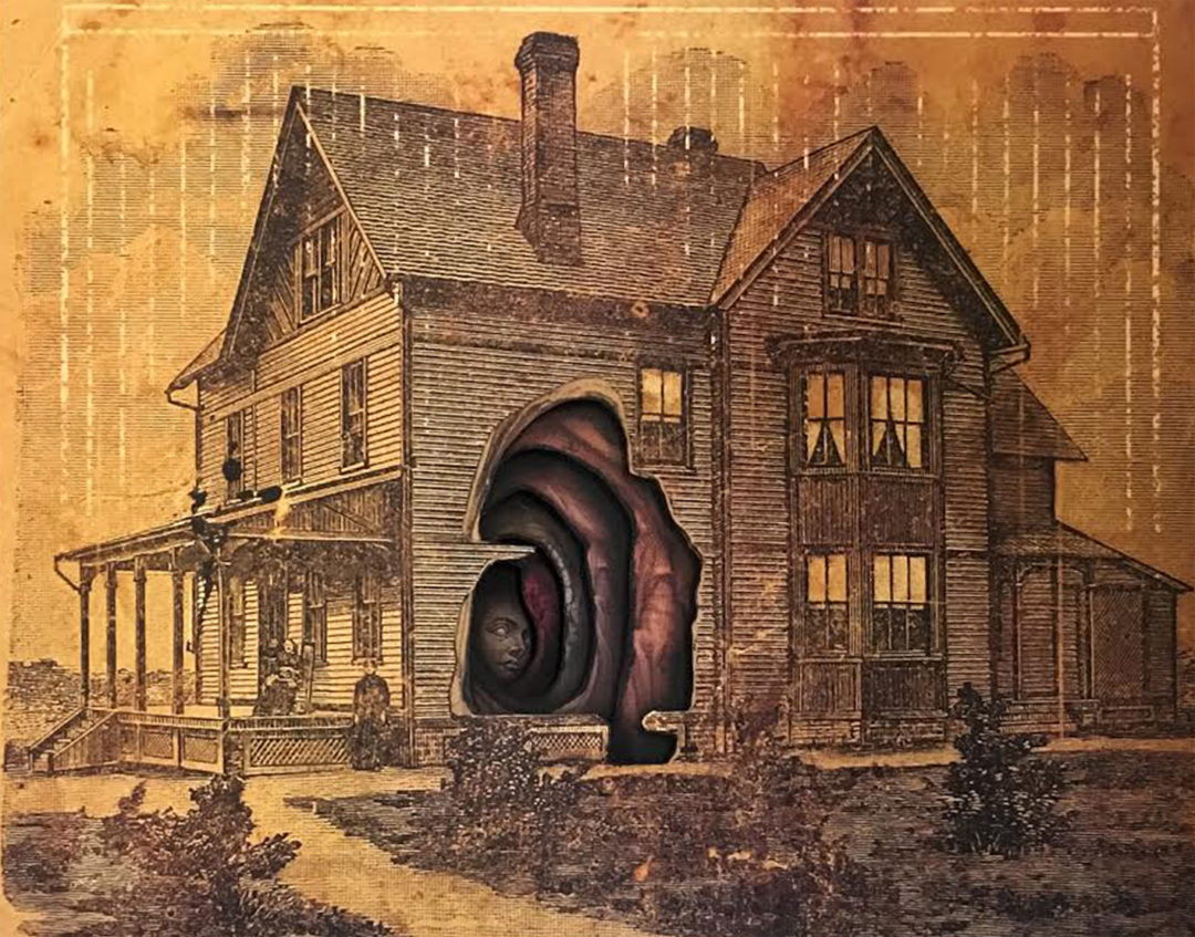"SOLD – Alex Eckman-Lawn's – ""Housebound"" Cut-paper collage"