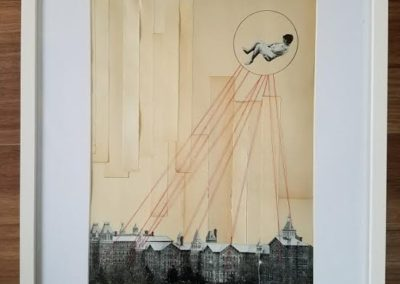 "Casey Murphy's ""Dreams For Clara""  – Antique book pages, (specifically My Life by Isadora Duncan), pencil, paper, thread"