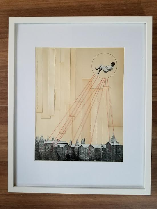 """Casey Murphy's """"Dreams For Clara""""  – Antique book pages, (specifically My Life by Isadora Duncan), pencil, paper, thread"""