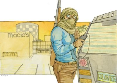"Kate Glasheen's ""American Taliban""  – Watercolor and ink"