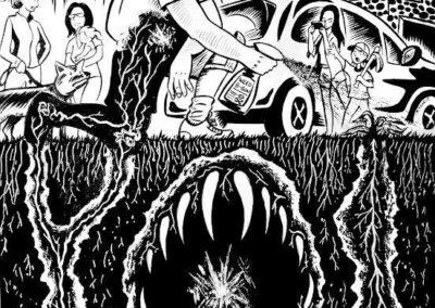 "Mike Sgier's – ""The Poisoned Land Bites Back""  – Pen and ink on bristol, collage"