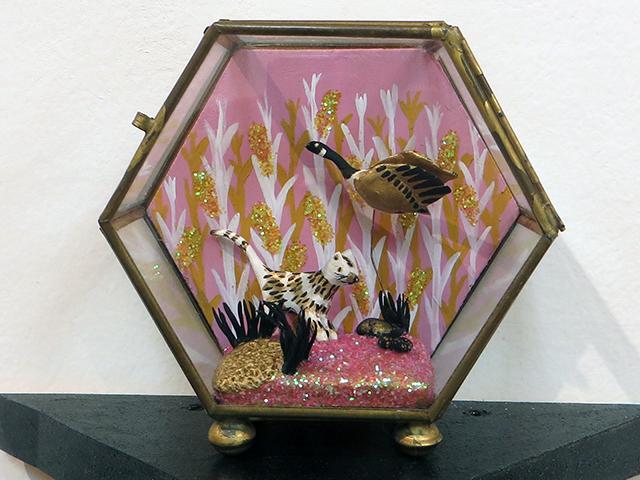 """Kati Driscoll's – """"Persimmon Overlook"""" Paper clay, wire, gouache, glitter"""