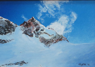 """Black Comb Glacier""  – Acrylic on panel –  14 1/2 "" W x 12"" H   – $900.00"