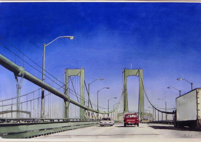 """Delaware Memorial Bridge""  – Watercolor on paper – 